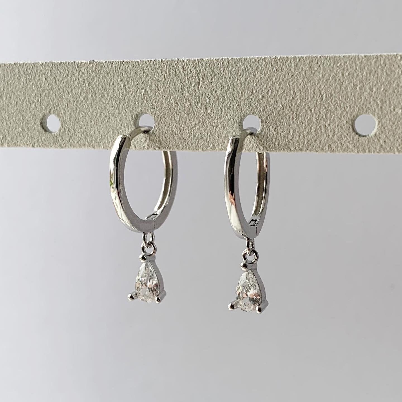 Diamant druppel oorringetjes 925 sterling zilver