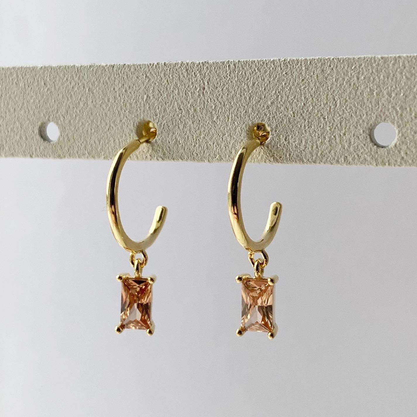 Oranje rechthoekige oorringetjes goud/925 sterling zilver