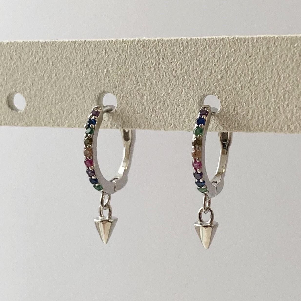 Rainbow oorringetjes met spike hangertje 925 sterling zilver