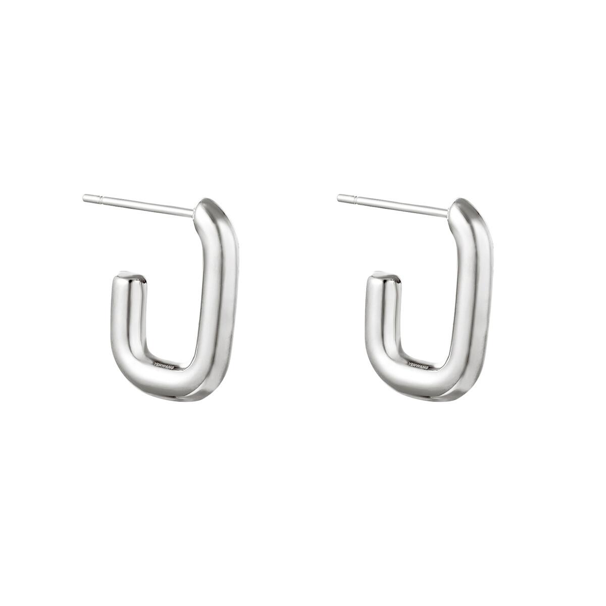 Minimalistische open oorringetjes zilver 18mm stainless steel