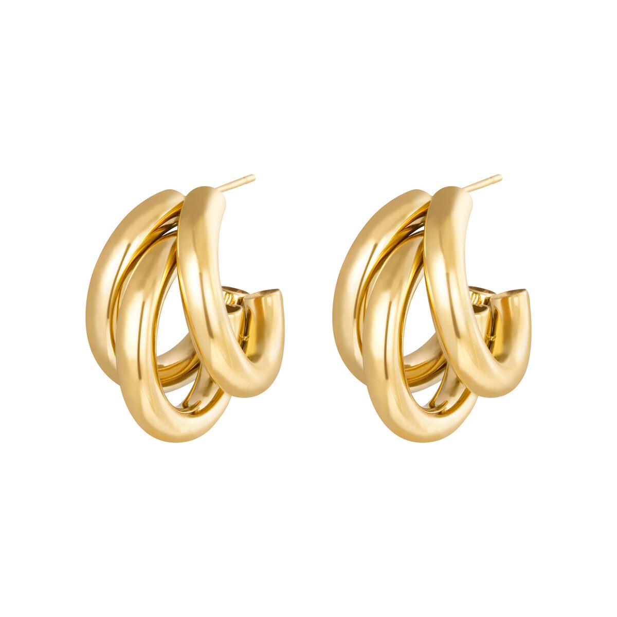 Triple oorringetjes goud stainless steel