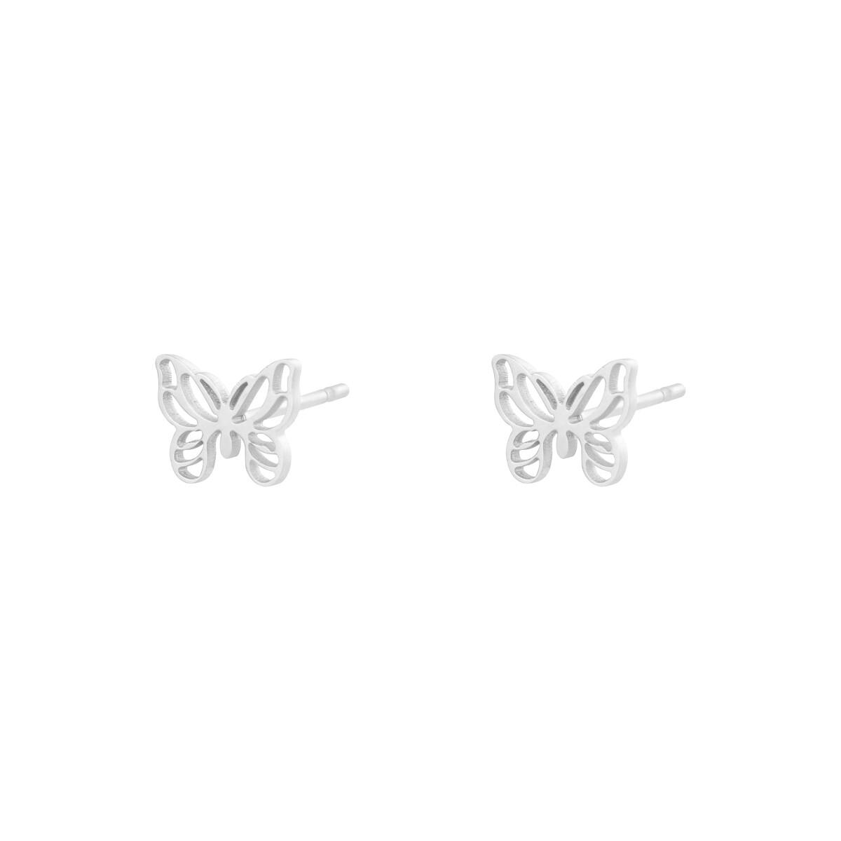 Vlinder knopjes stainless steel zilver