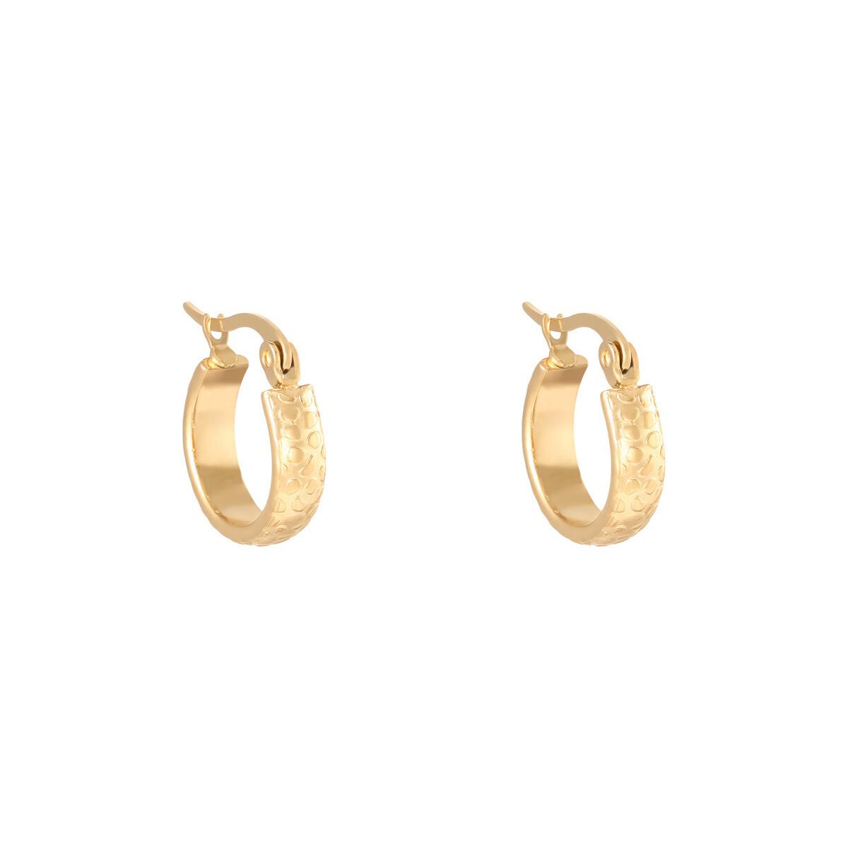 Panterprint oorringetjes goud stainless steel