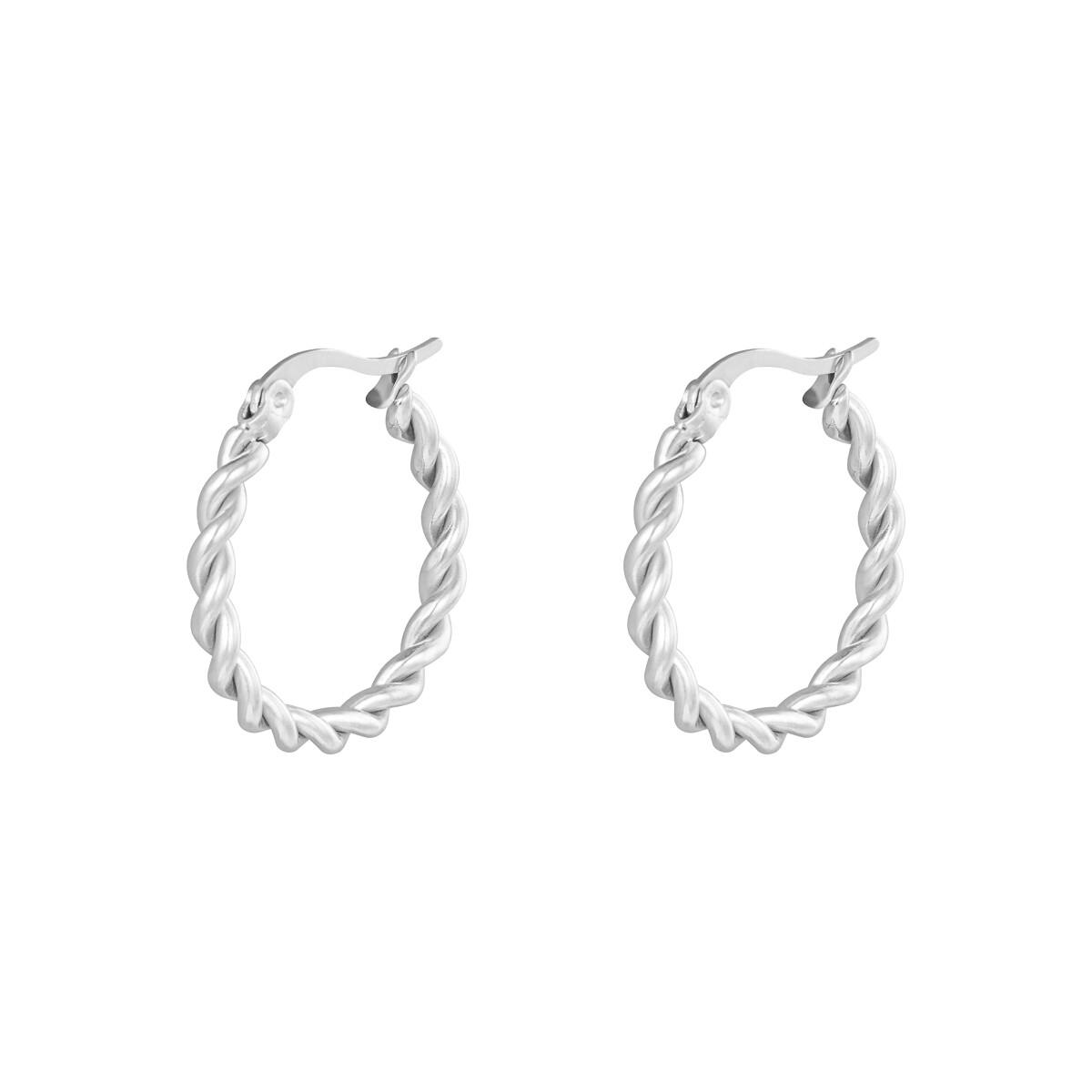 Gedraaide oorringetjes zilver 22mm stainless steel