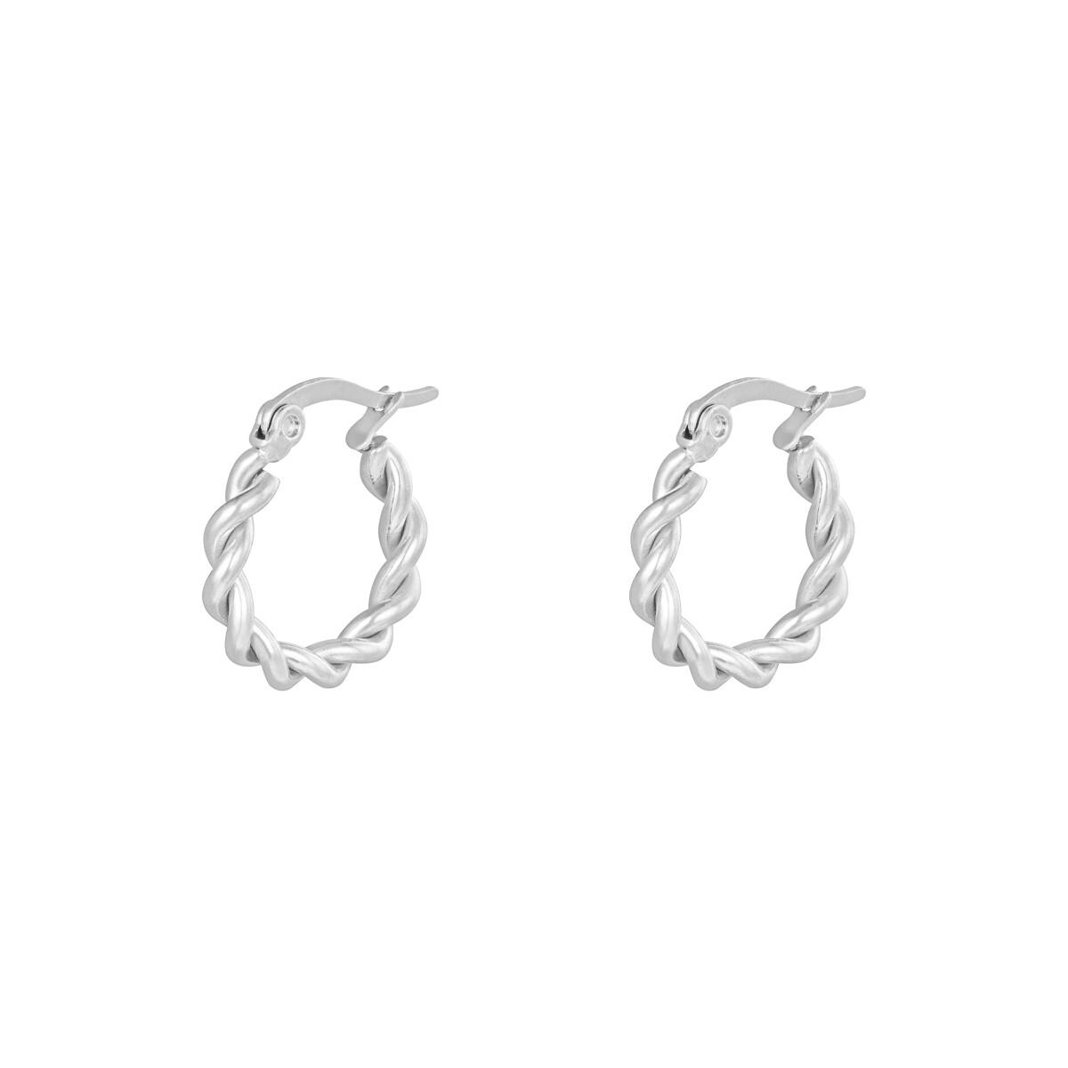Gedraaide oorringetjes zilver 15mm stainless steel