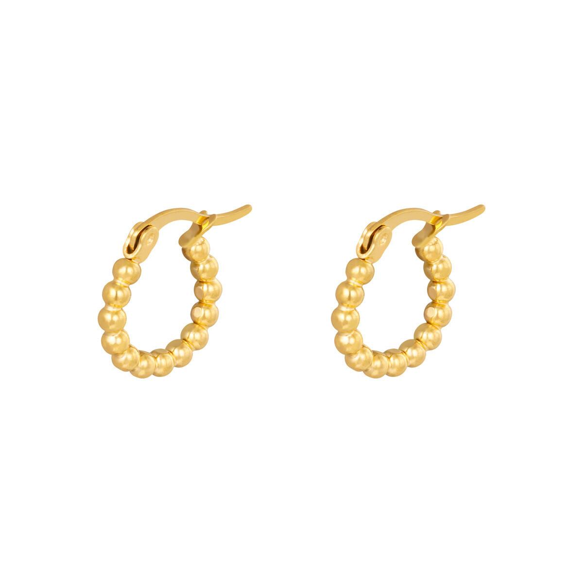 Beads oorringetjes goud 15mm stainless steel