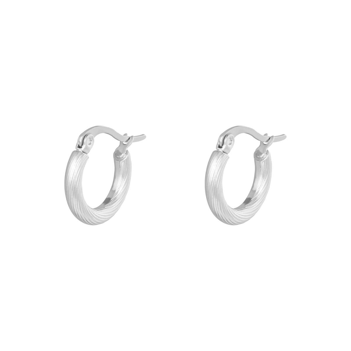 Twist oorringetjes zilver 15mm stainless steel