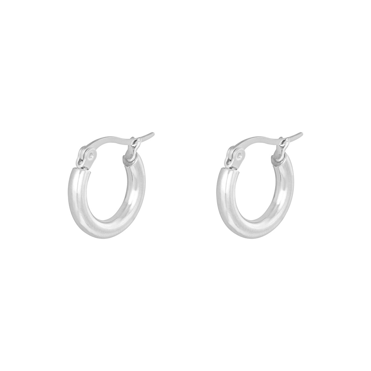 Basic stainless steel oorringetjes zilver 15mm