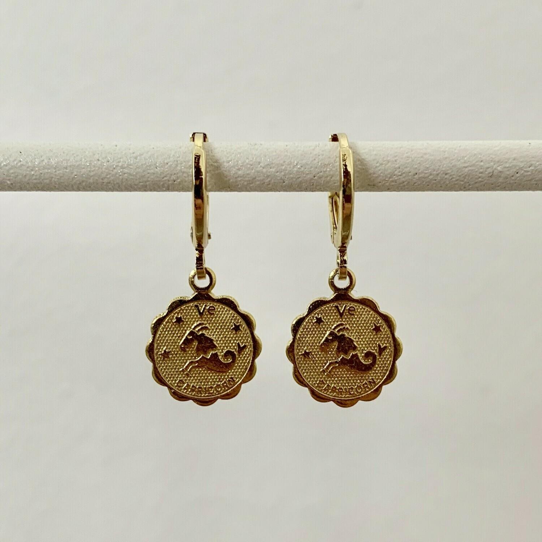 Sterrenbeeld oorbellen steenbok goud