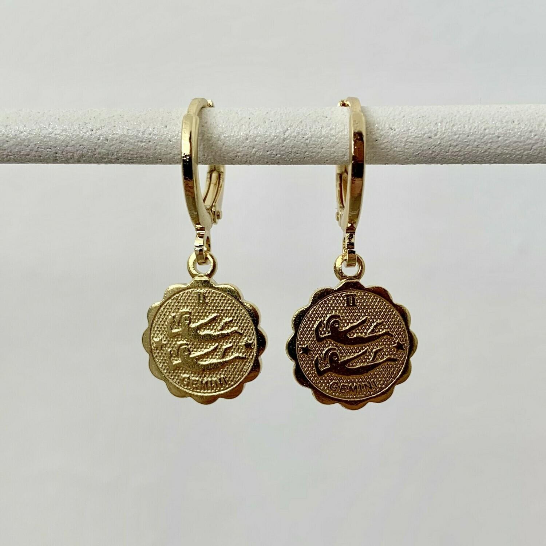 Sterrenbeeld oorbellen tweelingen goud