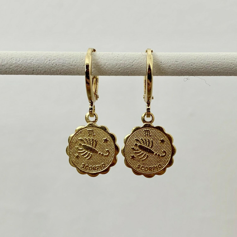 Sterrenbeeld oorbellen schorpioen goud