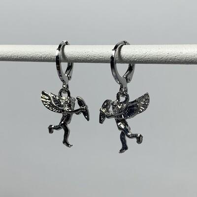 Cupido oorbellen zilver