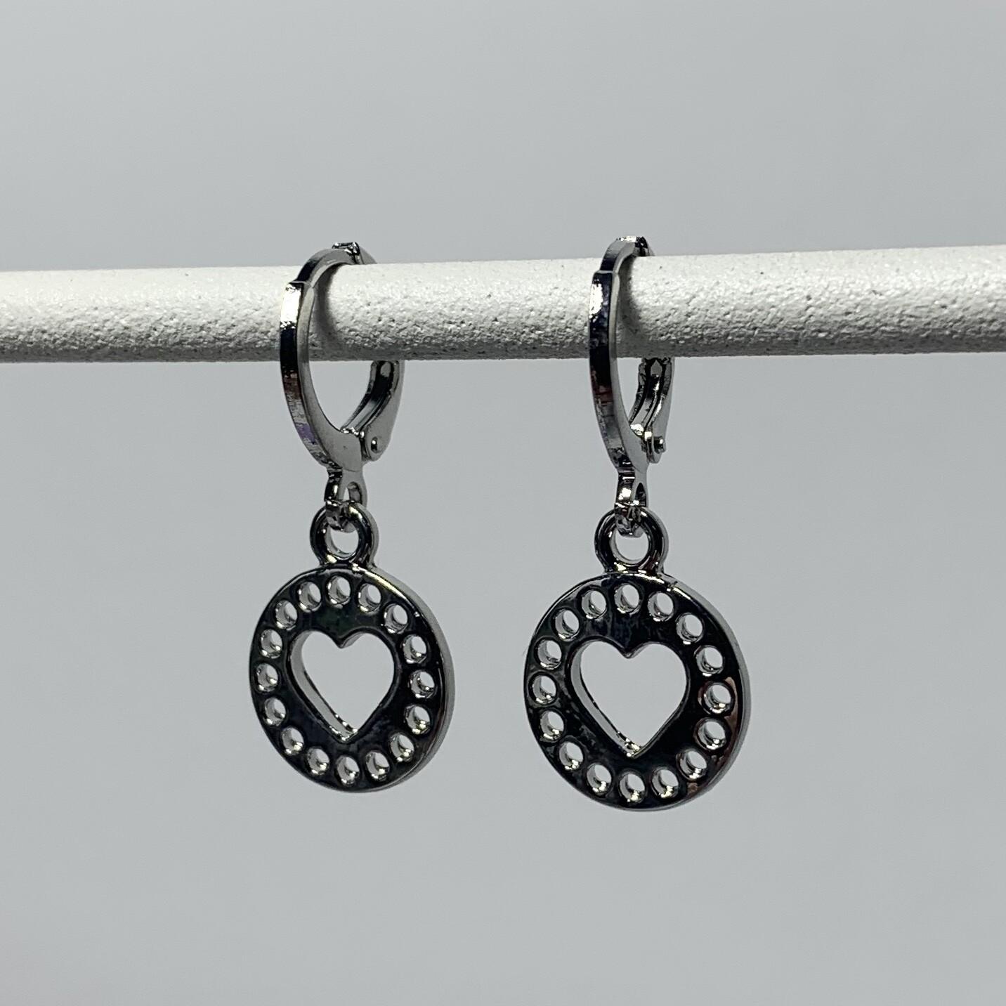 Heart coin oorbellen zilver