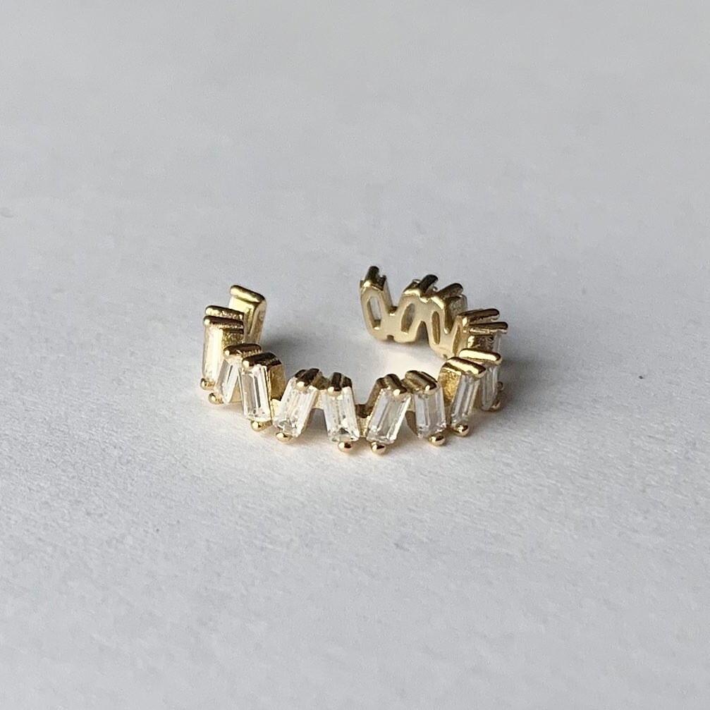 Shimmering stone earcuff goud/925 sterling zilver