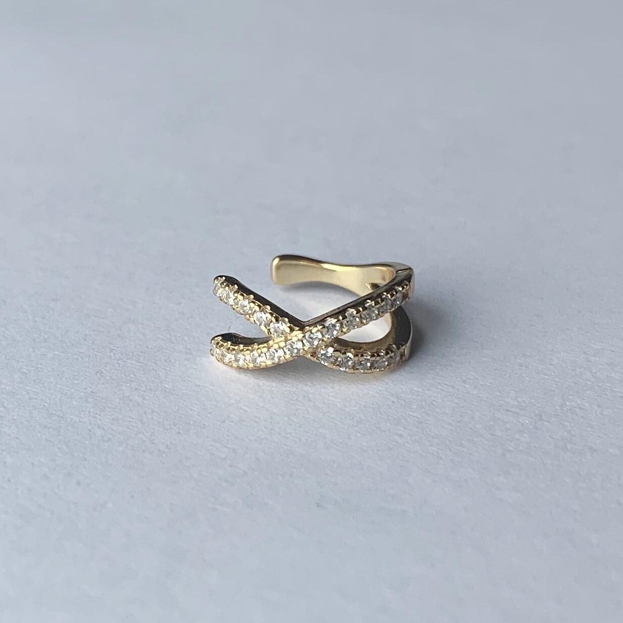 Shiny crossed earcuff goud/925 sterling zilver