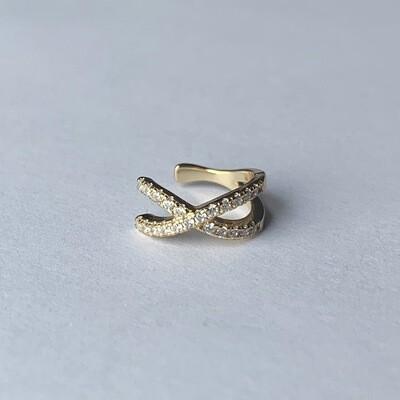 Shiny crossed ear cuff goud/925 sterling zilver