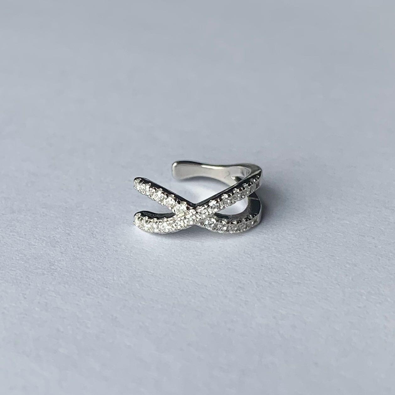 Shiny crossed ear cuff 925 sterling zilver