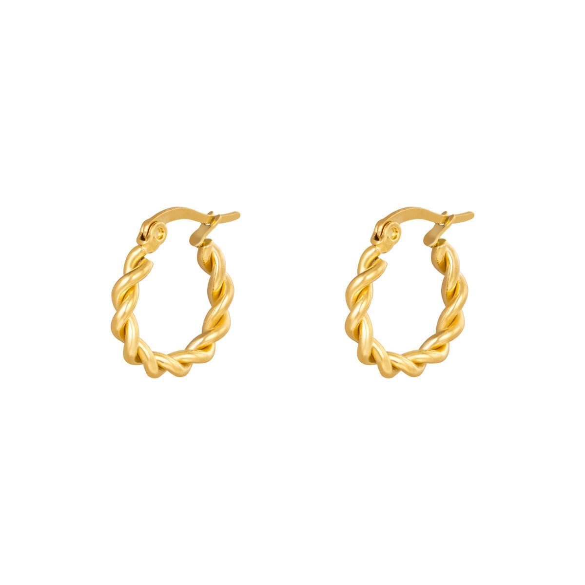 Gedraaide oorringetjes goud 15mm stainless steel