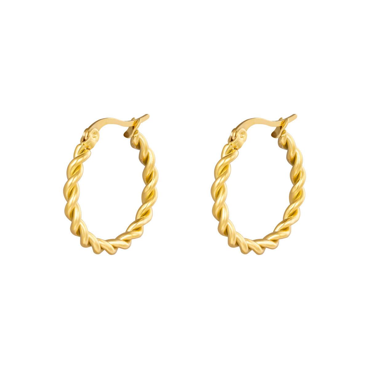 Gedraaide oorringetjes goud 22mm stainless steel