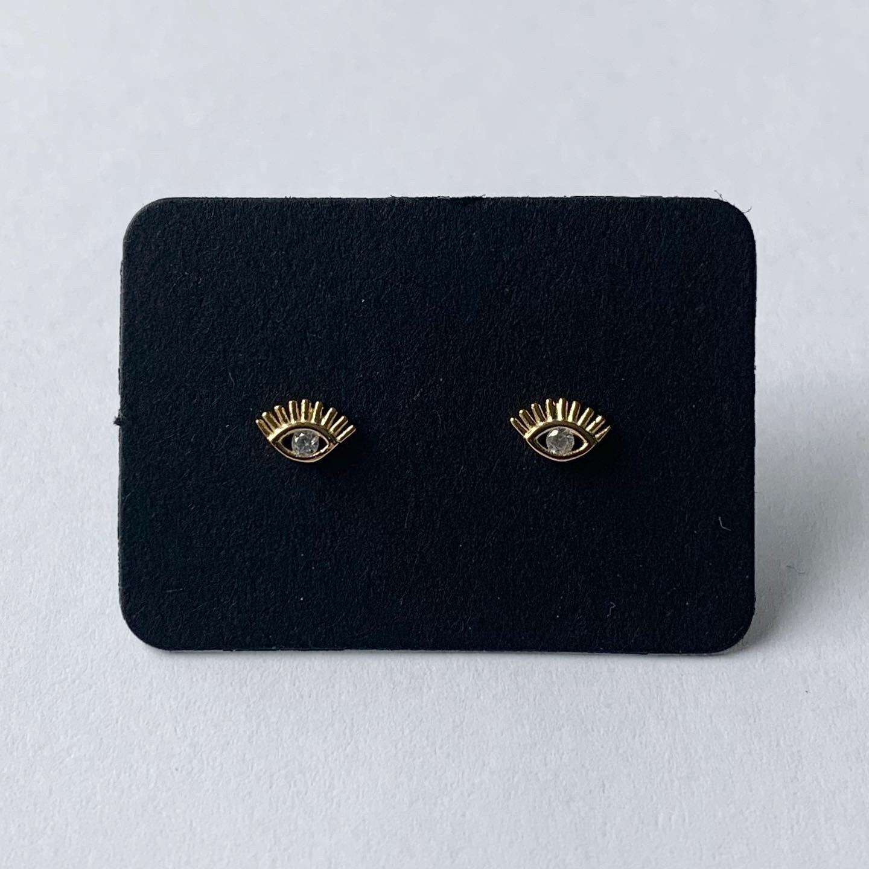 Shiny eye knopjes goud/925 sterling zilver
