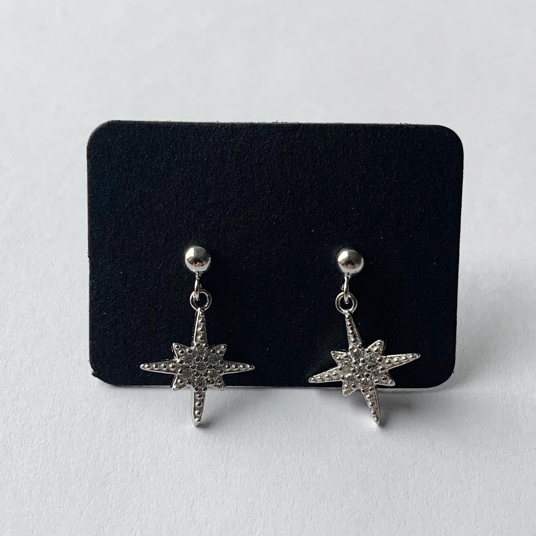 Knopje met shiny sterren hangertje 925 sterling zilver