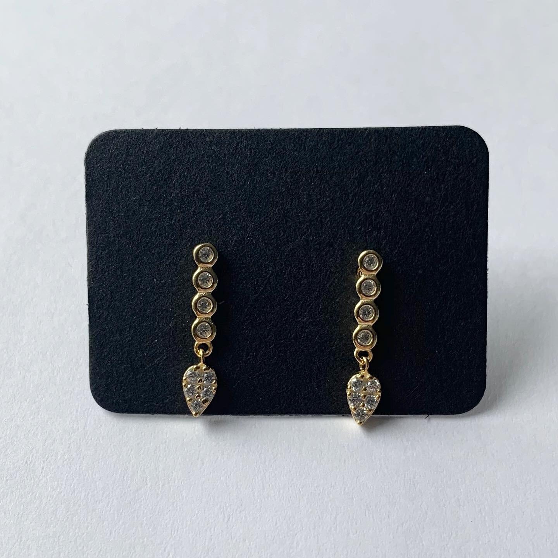 Staafjes knopjes met hangertje en steentjes 925 goud/sterling zilver
