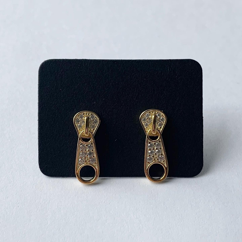 Zipper knopjes met steentjes goud/925 sterling zilver