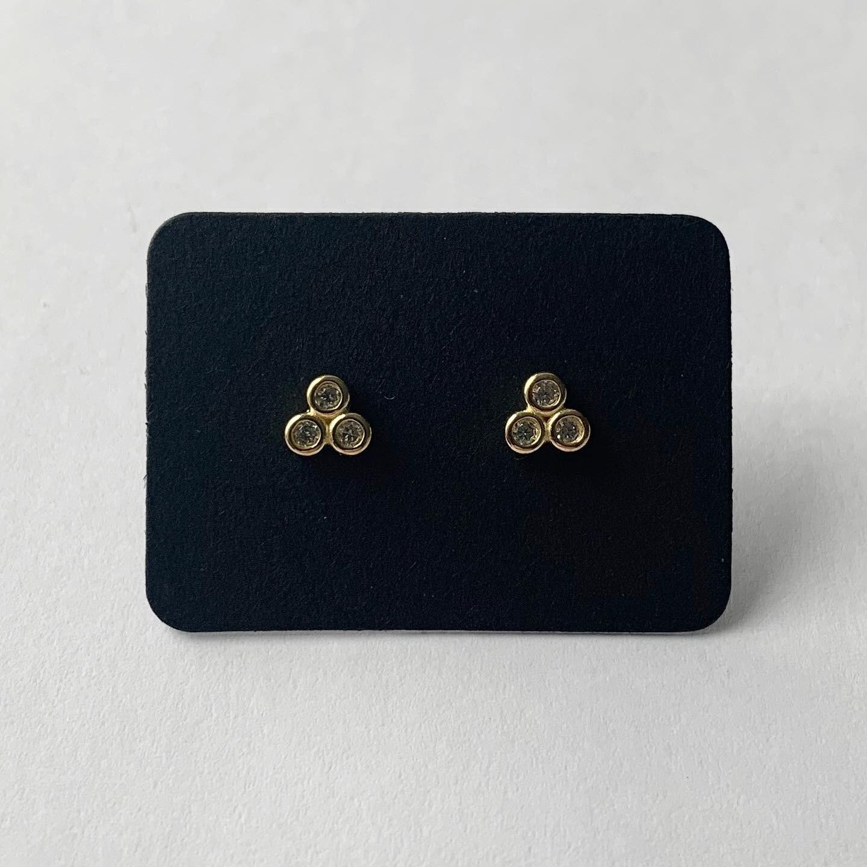 Honeycomb knopjes met strass steentjes goud/925 sterling zilver