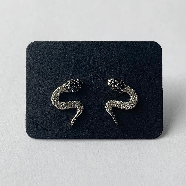 Snake knopjes met strass steentjes 925 sterling zilver