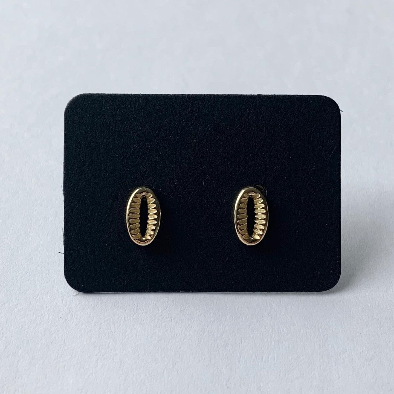 Shell knopjes goud/925 sterling zilver