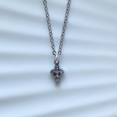 Shiny tiny cross ketting zilver