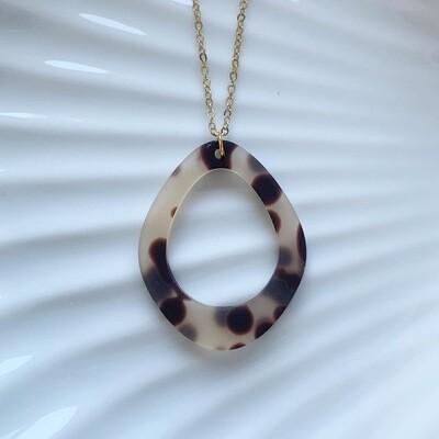 Panterprint ring ketting goud