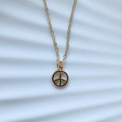Mini peace ketting goud