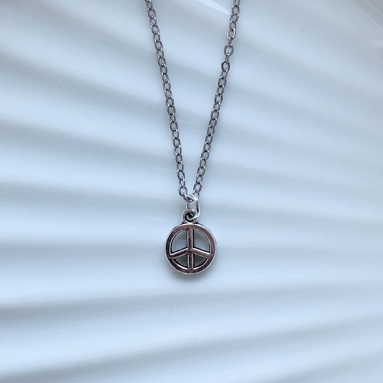 Mini peace ketting zilver
