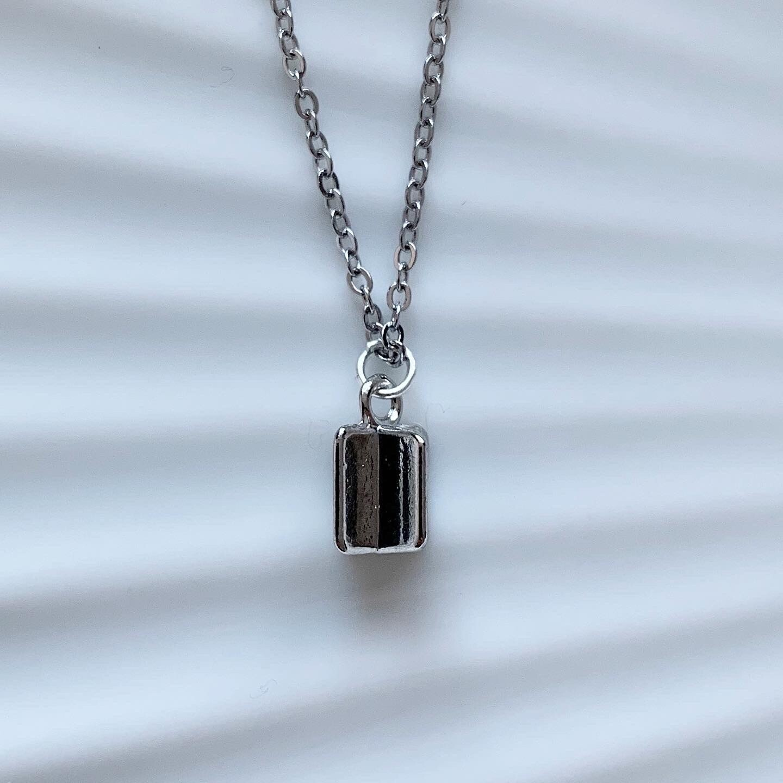 Vierkant ketting zilver