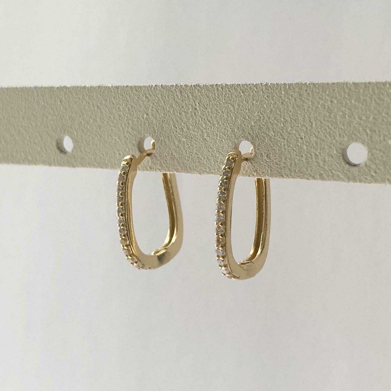 Rectangular oorringetjes met zirkonia steentjes goud/925 sterling zilver