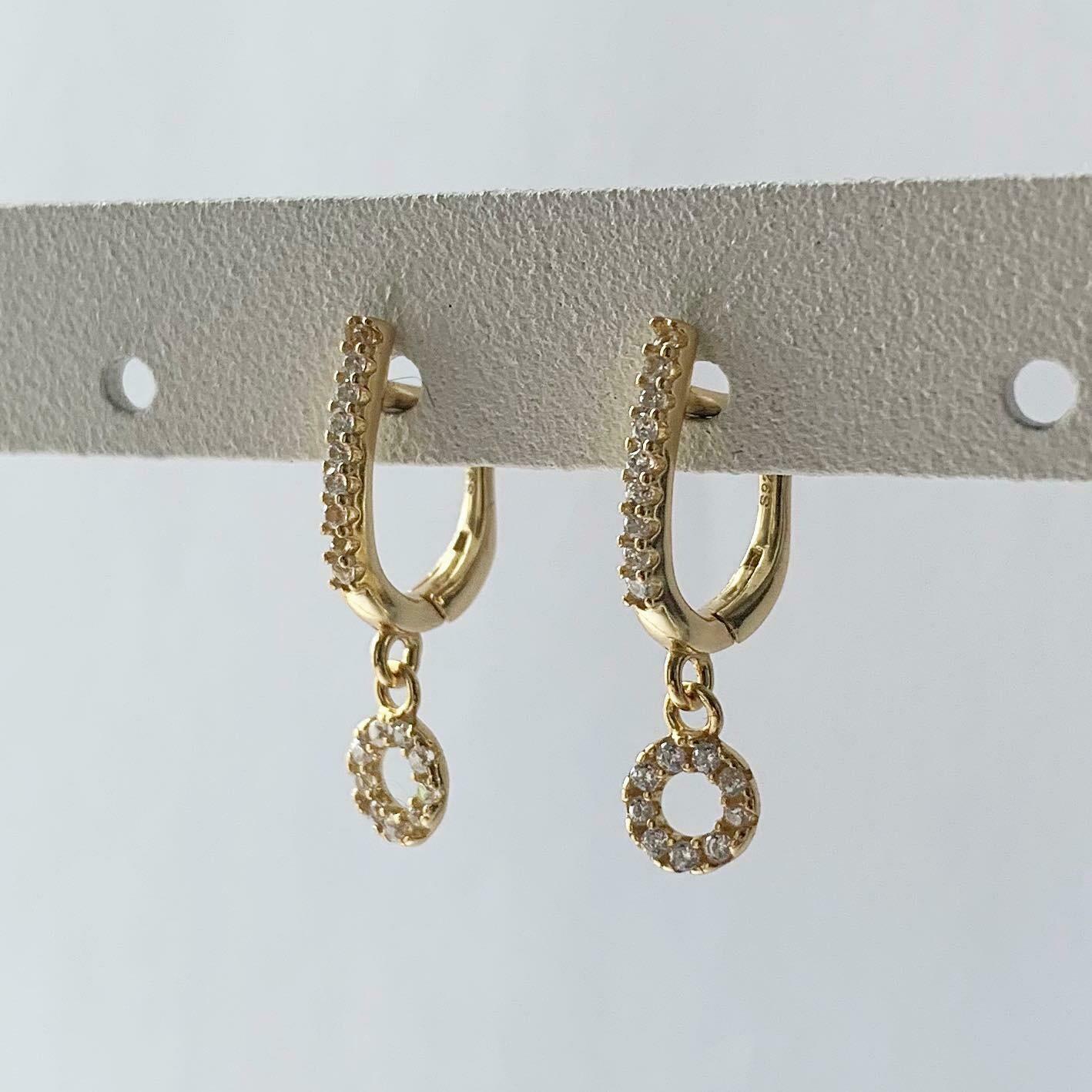 Open coin oorbellen met zirkonia steentjes goud/925 sterling zilver