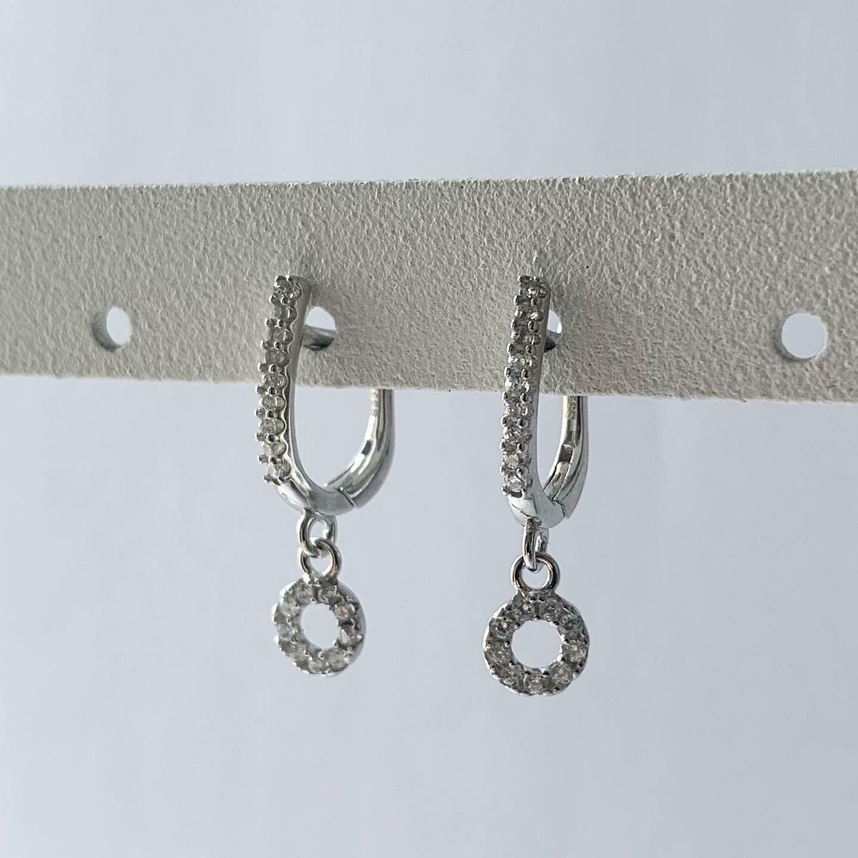 Open coin oorbellen met zirkonia steentjes 925 sterling zilver