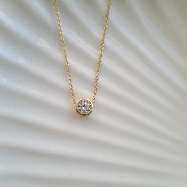 Dotje halsketting met diamant steentje goud