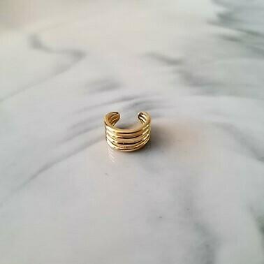 Mini vier laagjes ear cuff goud/925 sterling zilver