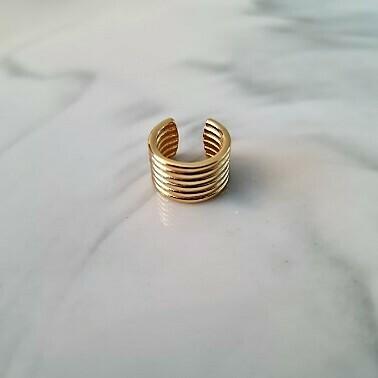 Brede gelaagde ear cuff goud/925 sterling zilver
