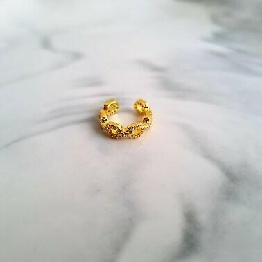 Chain met zirkonia steentjes ear cuff goud/925 sterling zilver