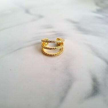 Drie laagjes met zirkonia steentjes ear cuff goud/925 sterling zilver