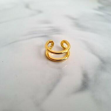 Dubbel laagje ear cuff goud/925 sterling zilver