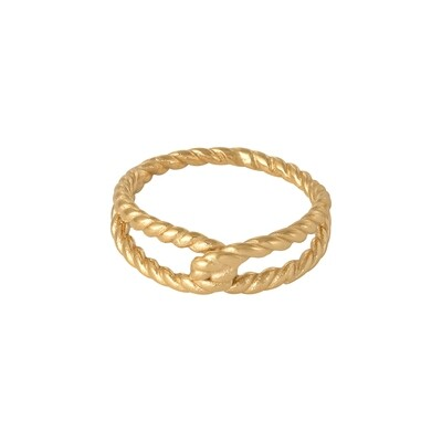 Twisted rope ring goud stainless steel