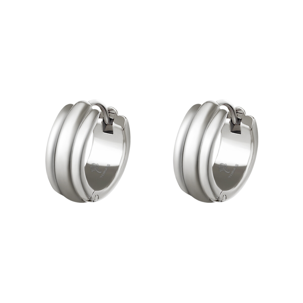 Lijntjes oorbellen zilver stainless steel