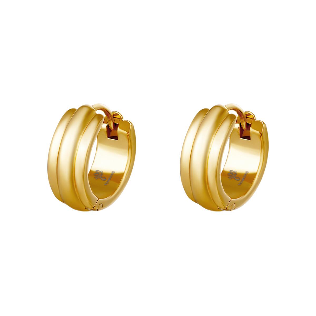 Lijntjes oorbellen goud stainless steel