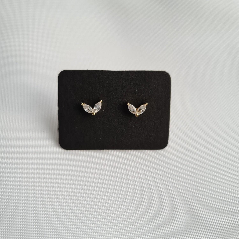 Tiny wings knopjes met steentjes goud/925 sterling zilver