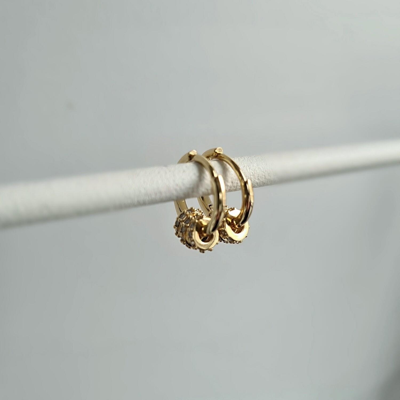 Shiny radartjes oorbellen goud/925 sterling zilver