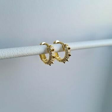 Shiny spikes oorbellen goud/925 sterling zilver
